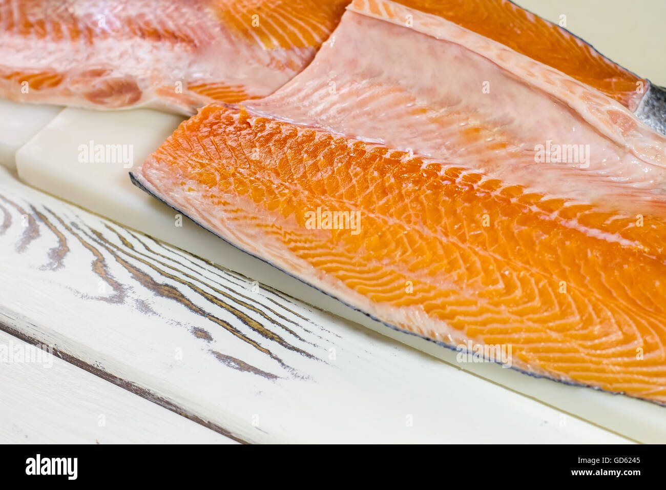 Raw Fish Meat Fish On Beige Cooking Board Salmon Fillet For Sushi