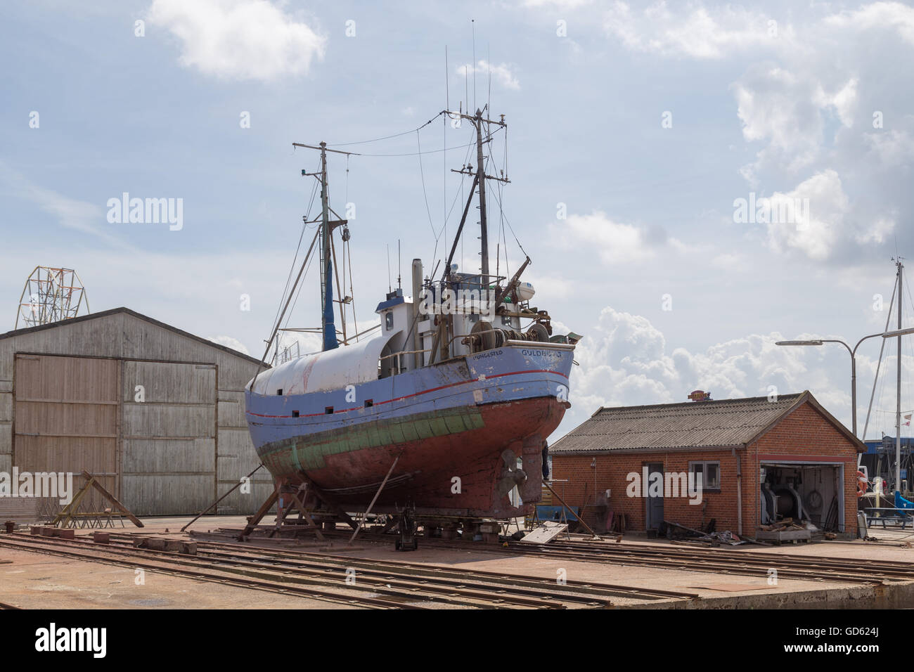 Hundested, Denmark - July 11, 2016: A boat in the dry dock. - Stock Image
