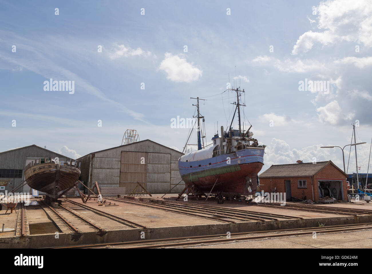 Hundested, Denmark - July 11, 2016: Boats in the dry dock. - Stock Image