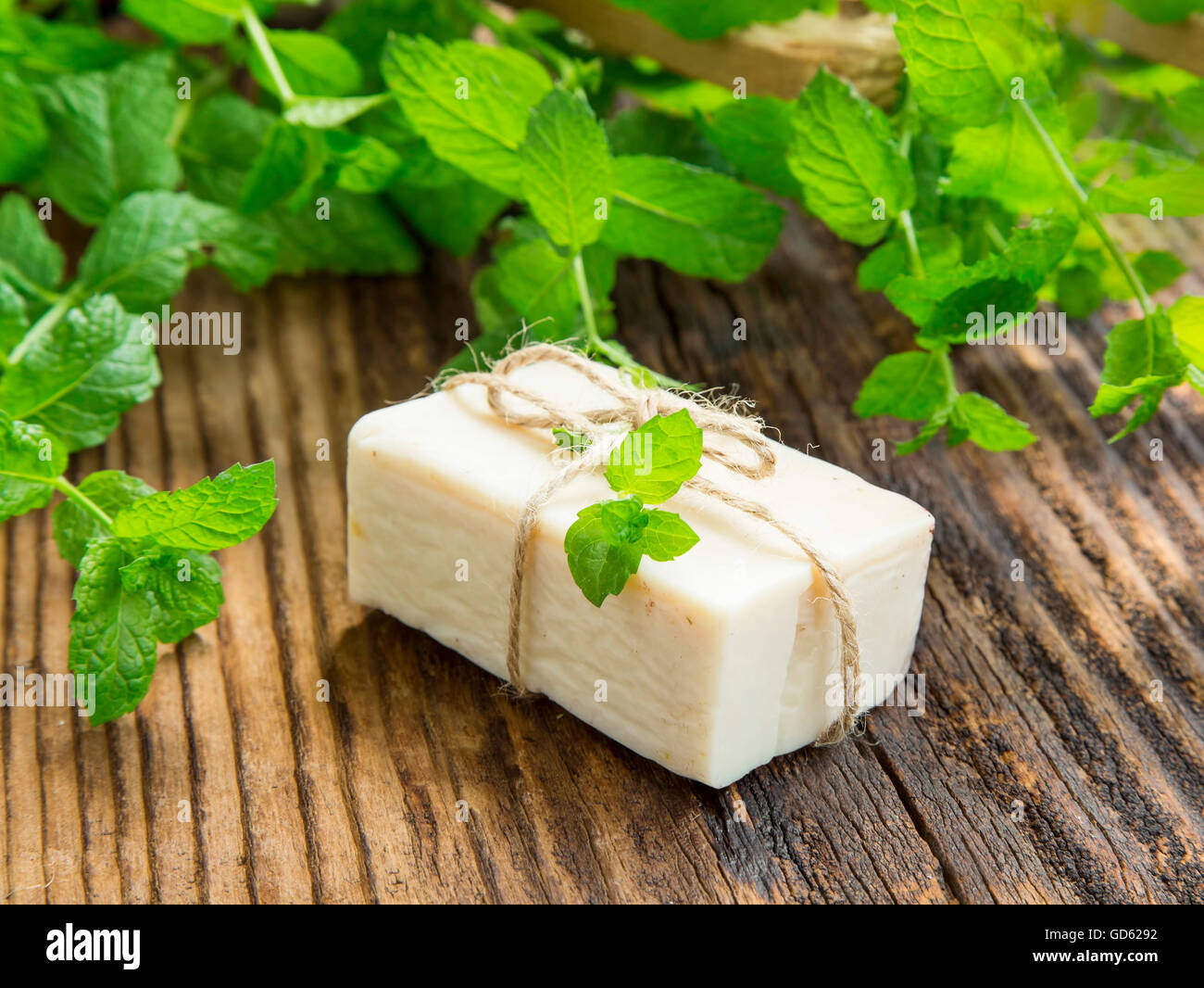 Natural handmade soap with mint leaves plant - Stock Image