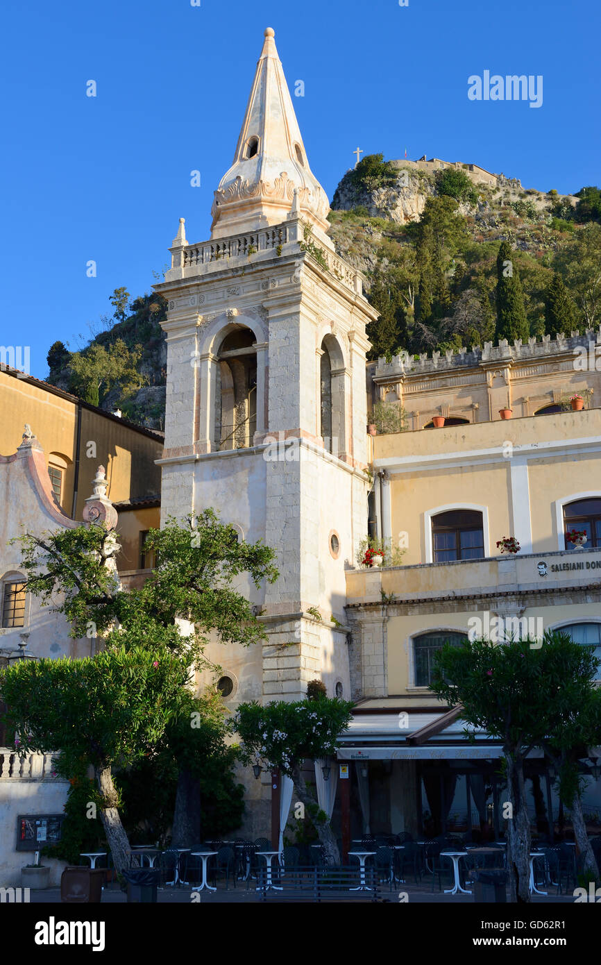 Bell tower of Church of San Giuseppe in Piazza IX Aprile - Taormina, Sicily, Italy - Stock Image