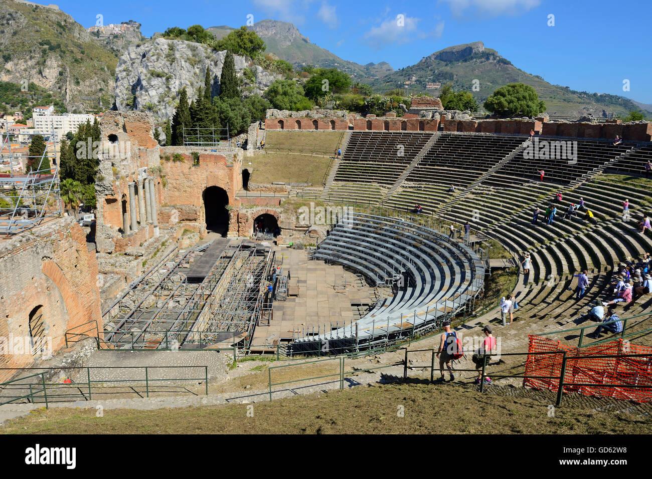 Greek Theatre - Taormina, Sicily, Italy Stock Photo