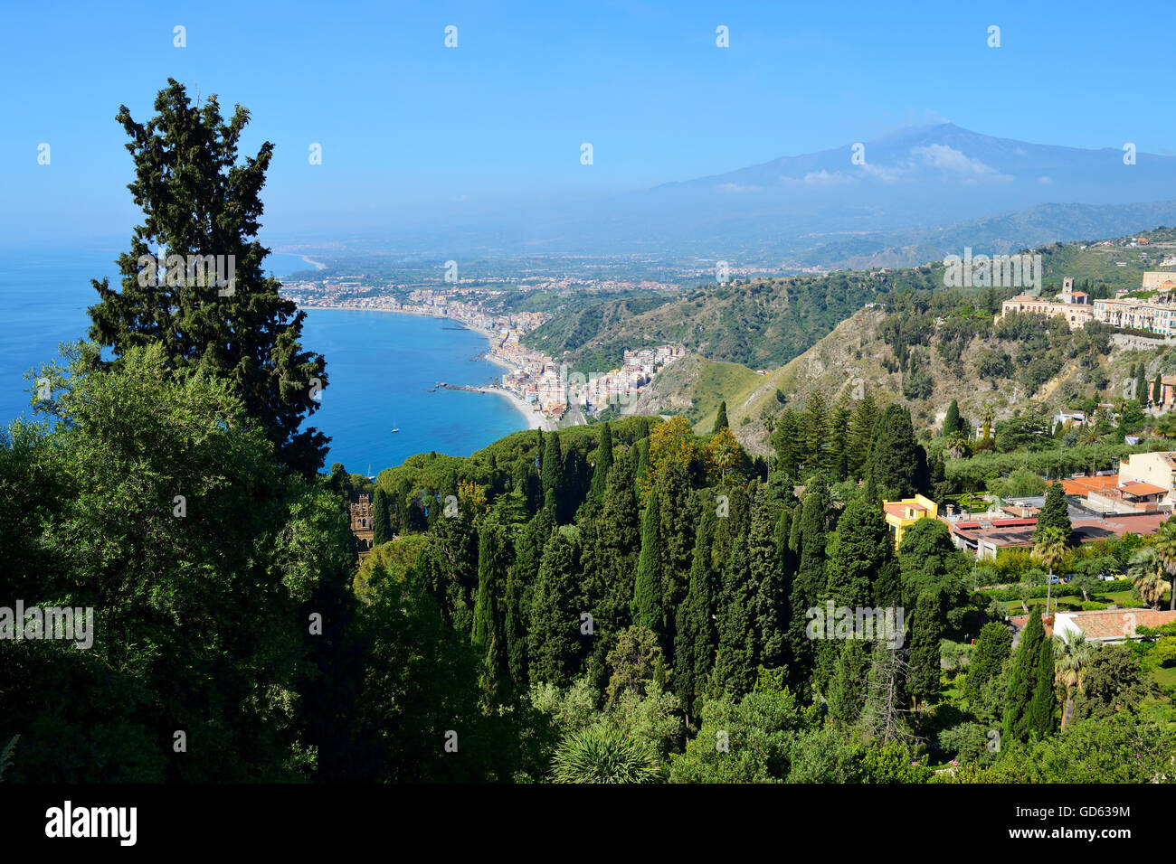 View of Mount Etna and east coastline from Taormina, Sicily, Italy - Stock Image
