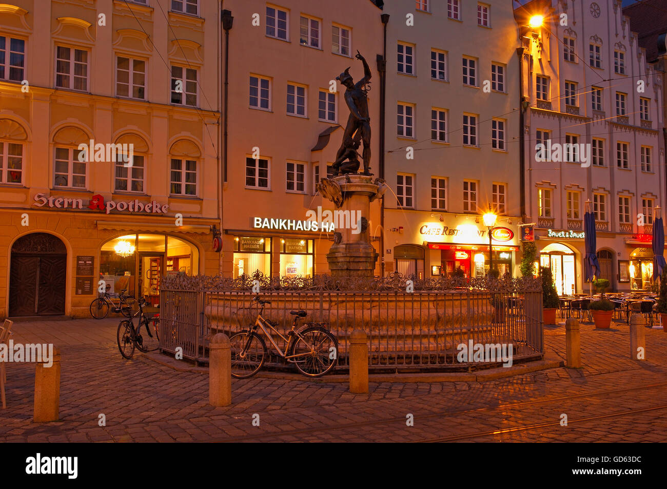 Augsburg, Moritzplatz, Market square, Maximilianstrasse, Maximilian street, Mercury Fountain, Romantic Road, Romantische - Stock Image