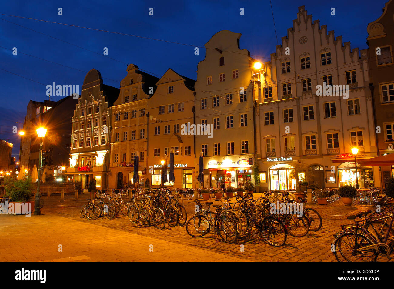 Augsburg, Maximilianstrasse, Maximilian street, Romantic Road, Romantische Strasse, Swabia, Bavaria, Germany, Europe - Stock Image