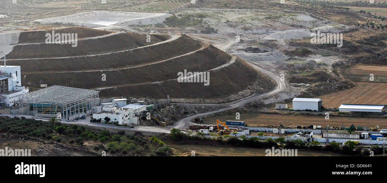 Aerial view of the Tamra landfill Galilee, Israel - Stock Image