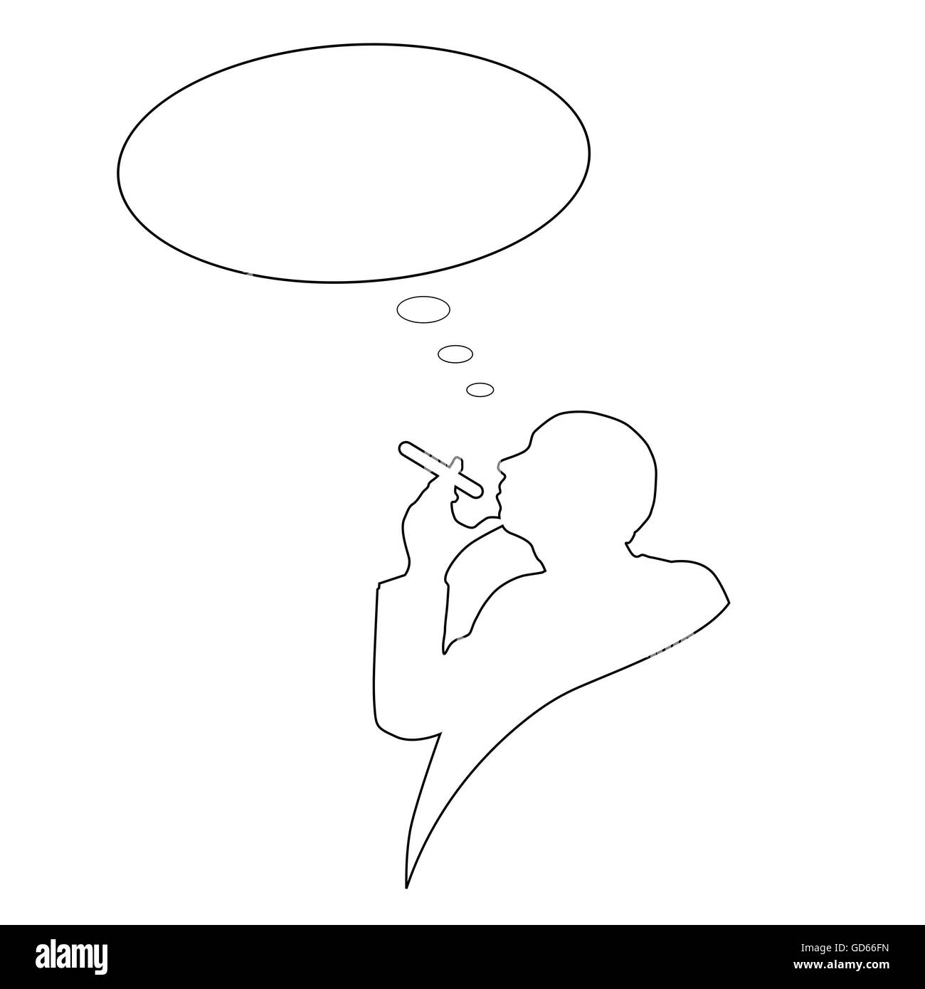 man with cigarette and cloud for text vector - Stock Image