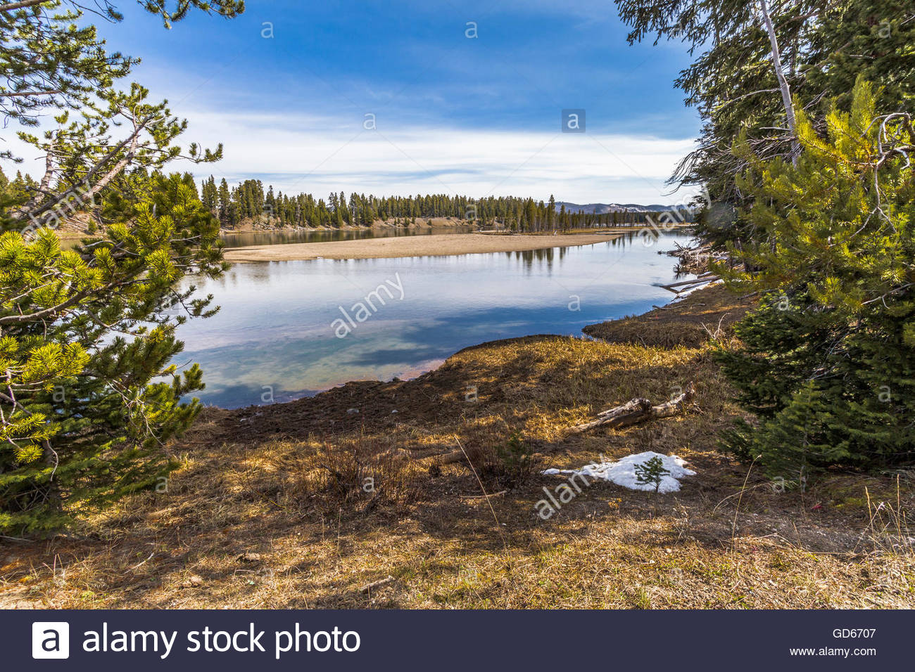 A view from the area of the Fishing Bridge spanning the Yellowstone river in Yellowstone National Park, USA... - Stock Image