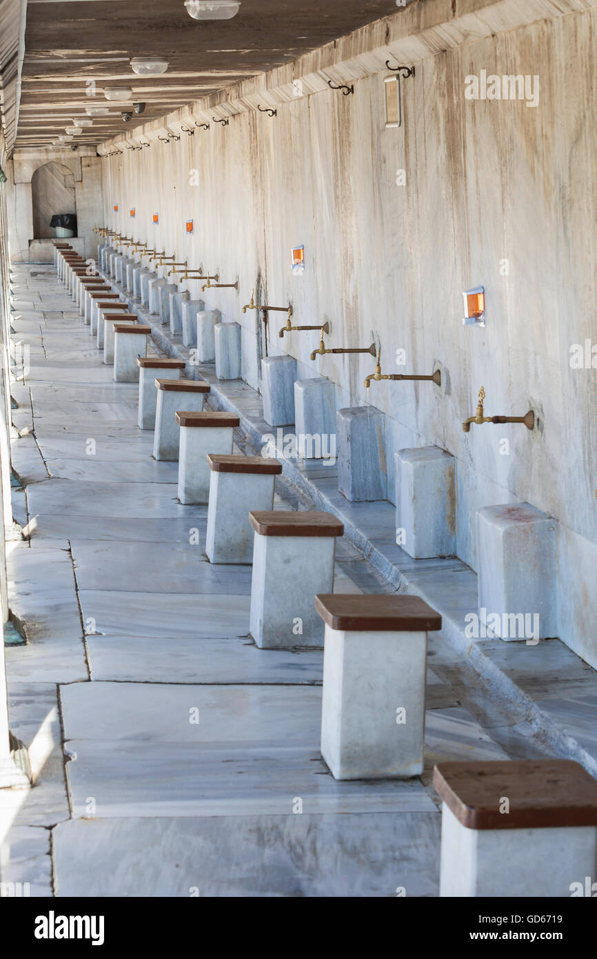 Ablution taps - Stock Image