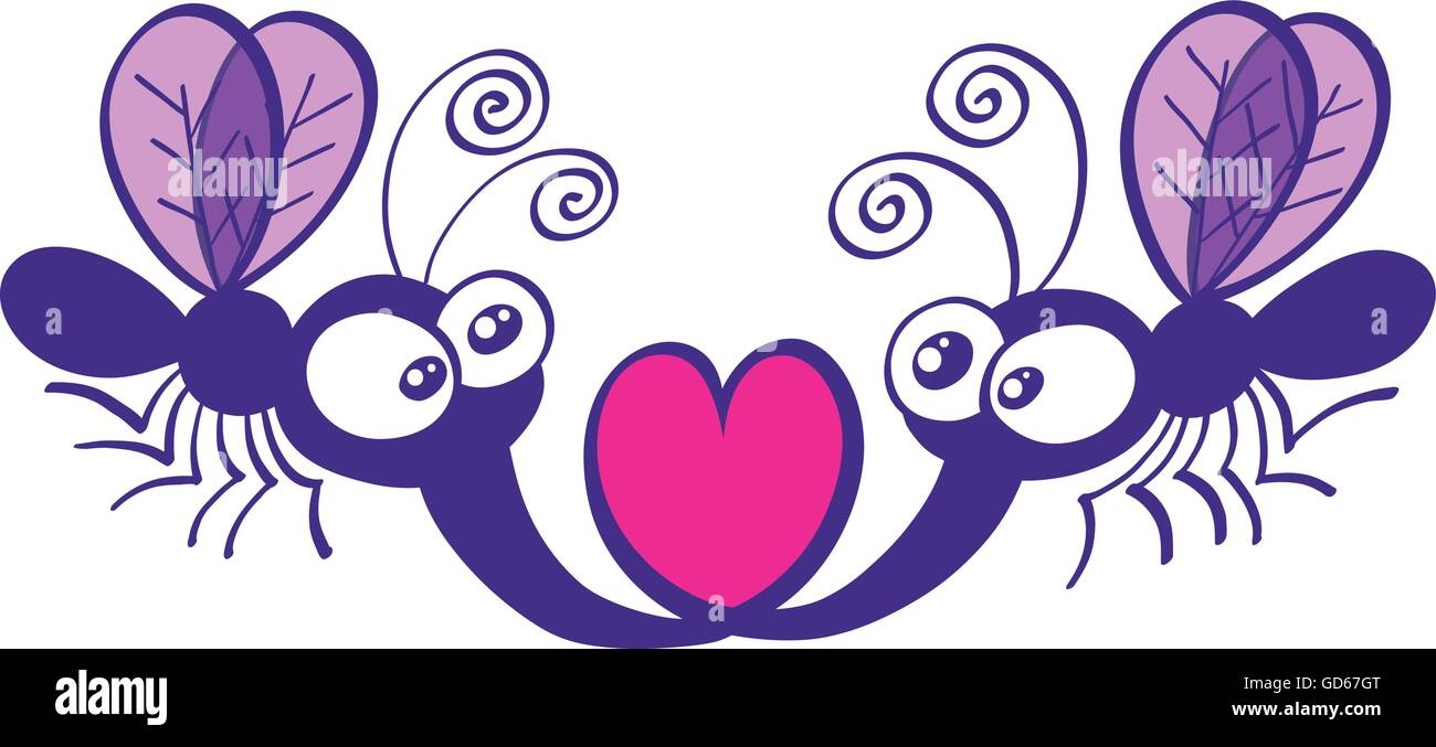 A couple of purple mosquitoes staring at each other and forming a heart with their proboscises while floating in - Stock Image