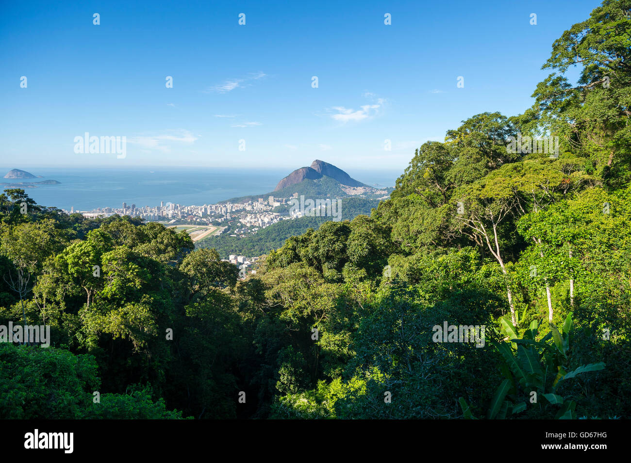 View of the dramatic natural skyline from the surrounding jungle greenery at the Vista Chinesa scenic overlook in Stock Photo