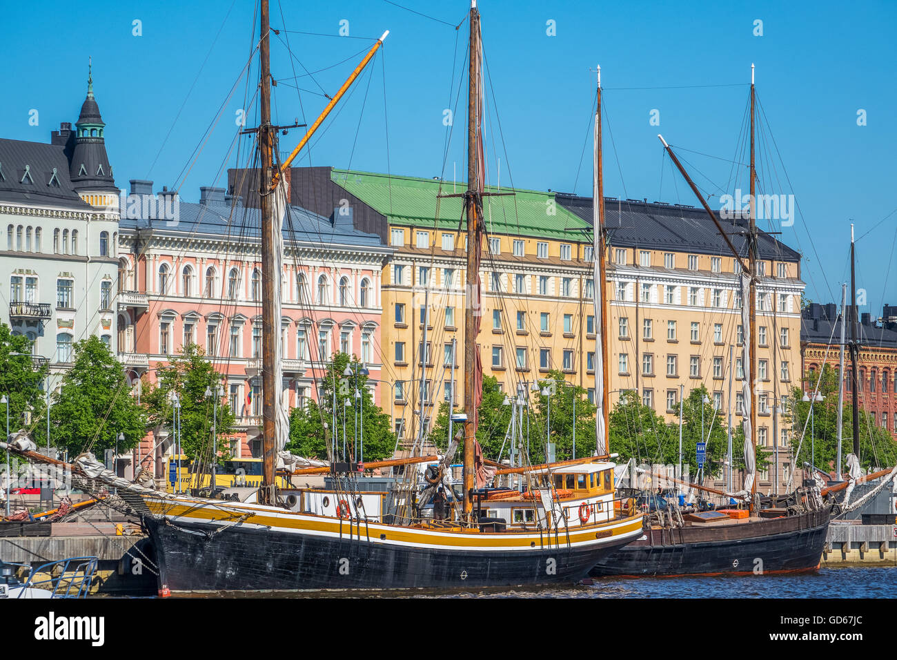 Sailing Ships In The Harbour Helsinki Finland - Stock Image