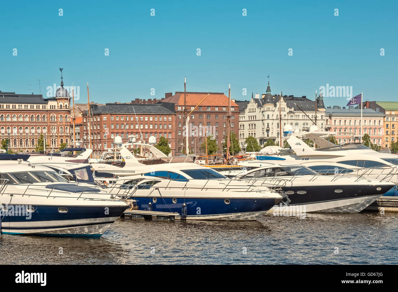 Motor Boats In The North Harbour Helsinki Finland Stock Photo