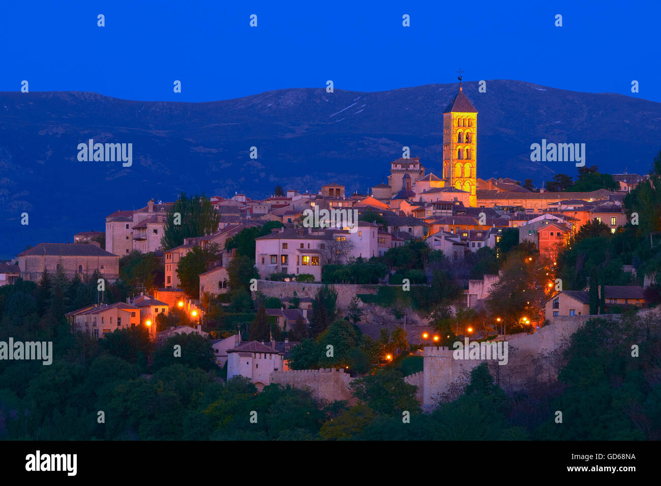 San Esteban Church at Dusk, Segovia, Castilla-Leon, Spain, Stock Photo