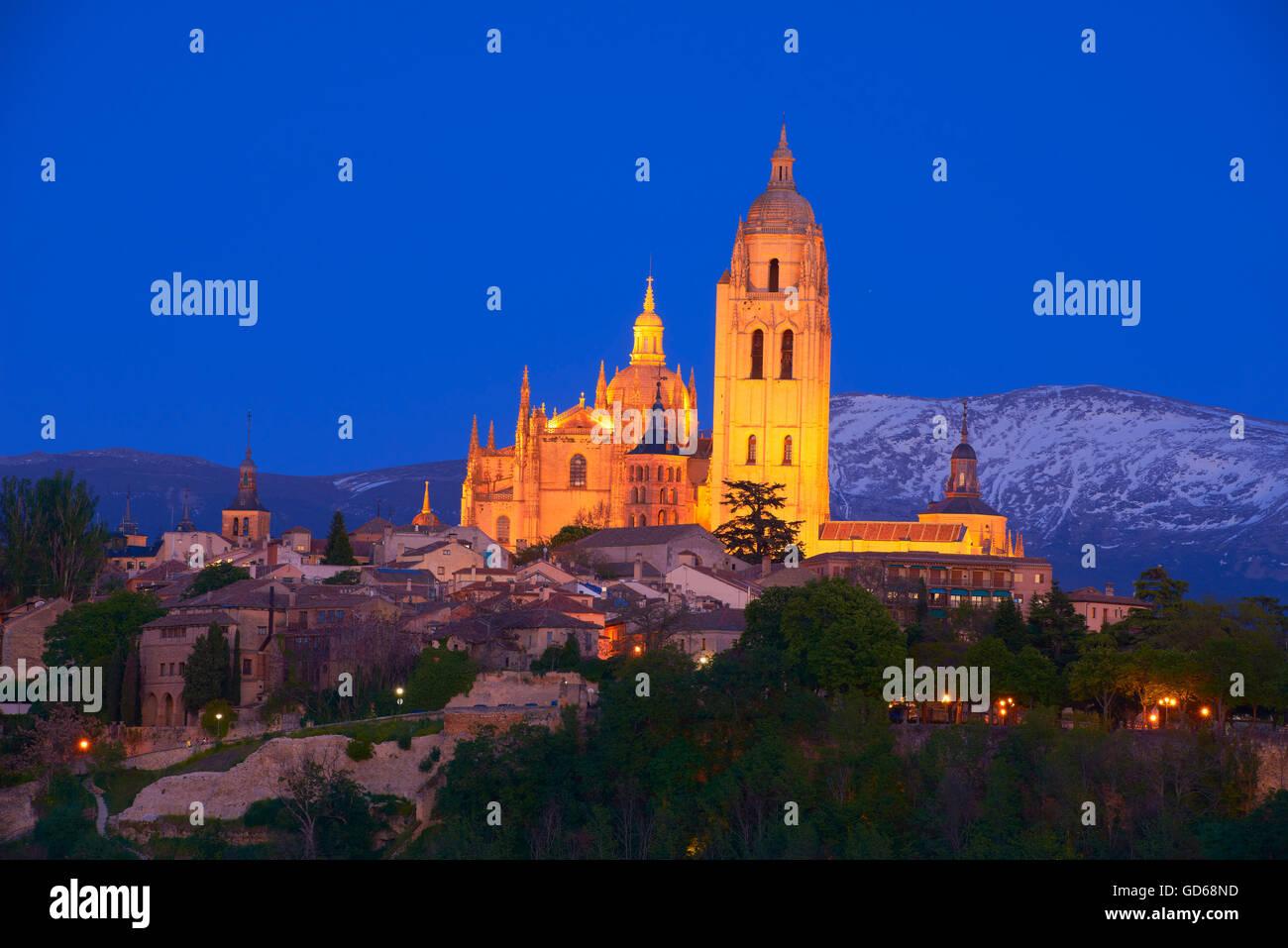 Cathedral at Dusk, Segovia, Castilla-Leon, Spain, - Stock Image