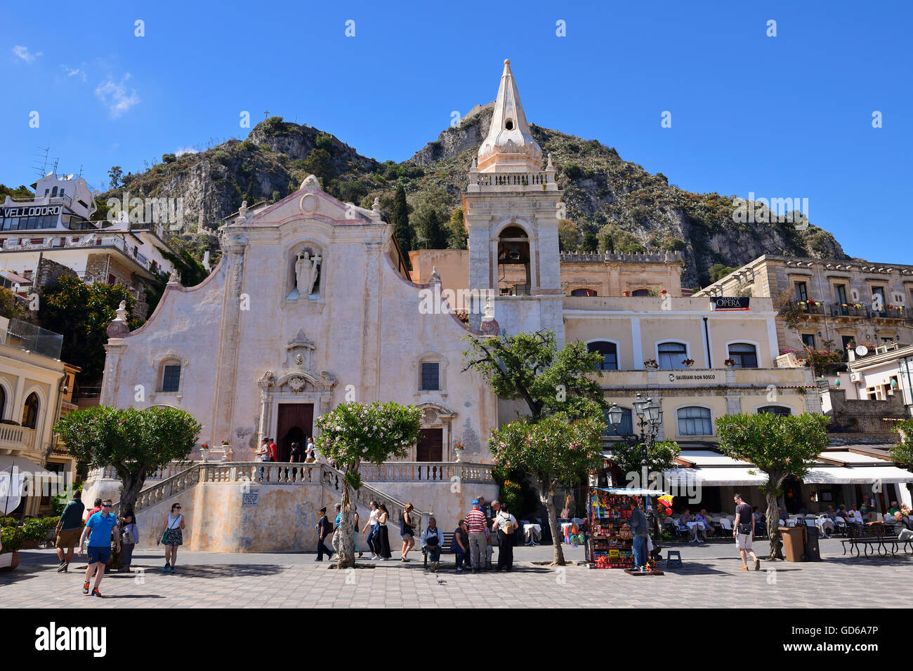 Church of San Giuseppe in Piazza IX Aprile - Taormina, Sicily, Italy - Stock Image