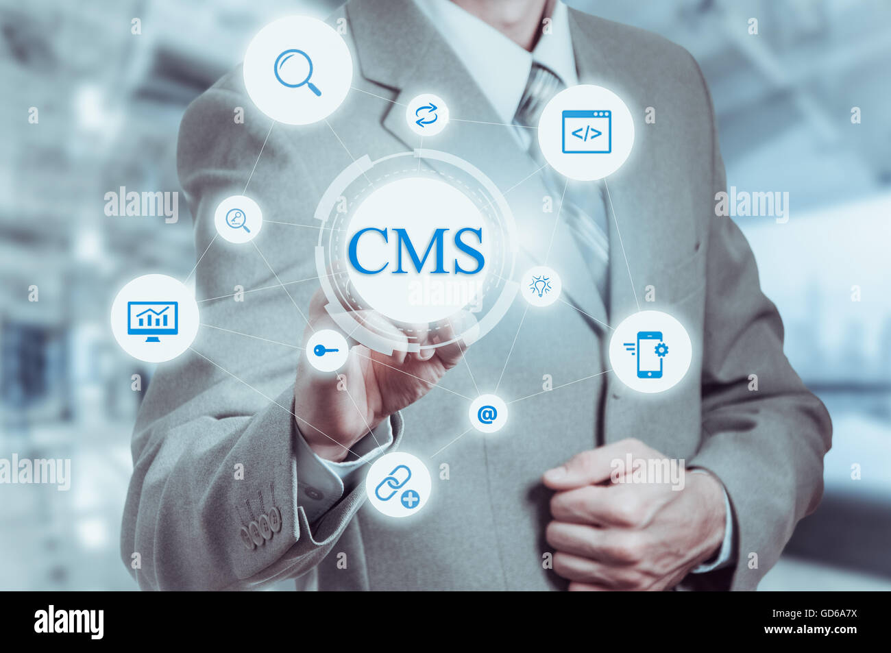 The concept of cms content management system website administration - Stock Image