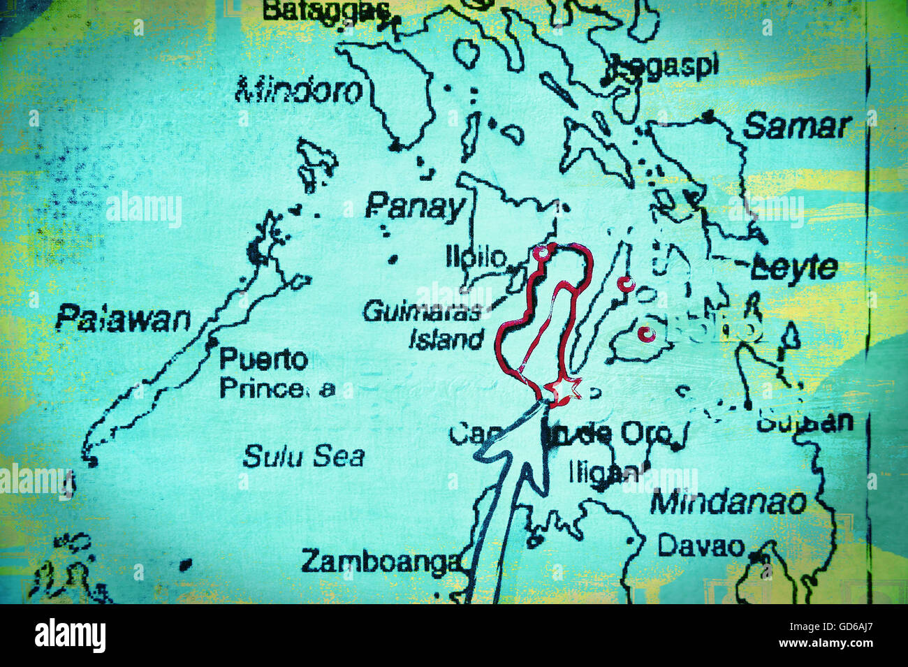 Map of the Visayas, Philippines, Asia. - Stock Image