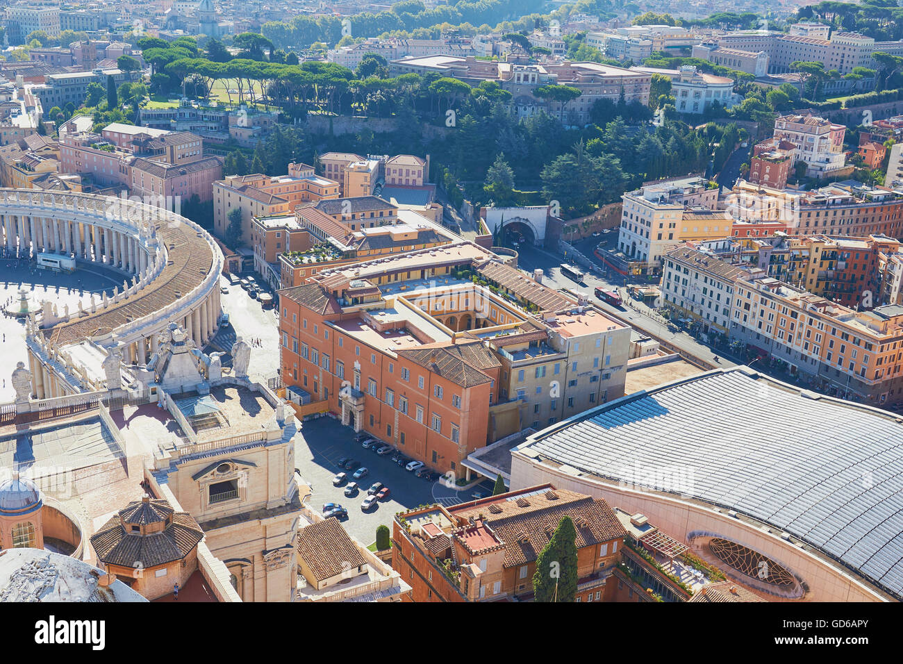 Rome cityscape with part of St Peter's Square Lazio Italy Europe - Stock Image