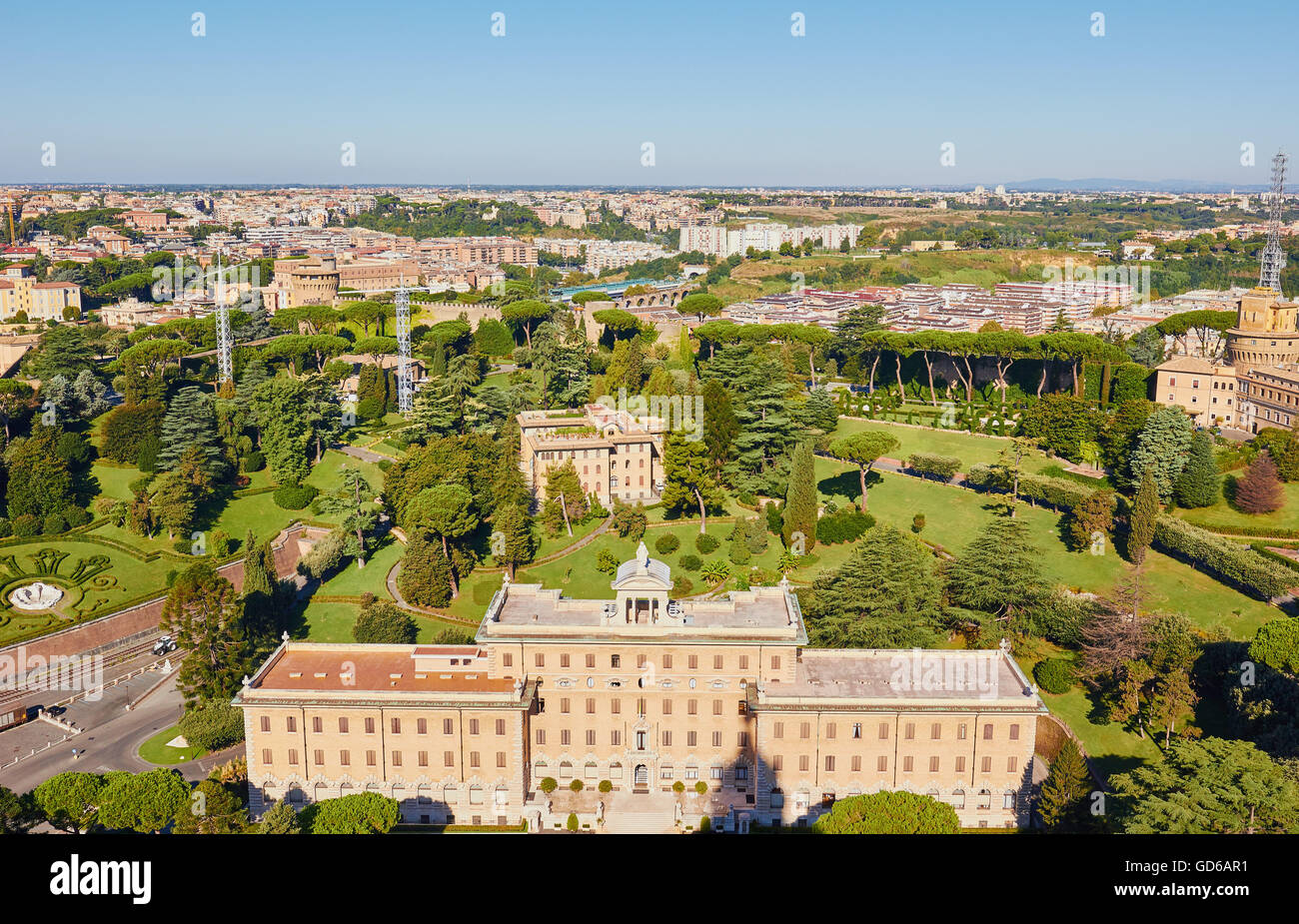 Panorama of Rome from dome of St Peter's Basilica Lazio Italy Europe - Stock Image