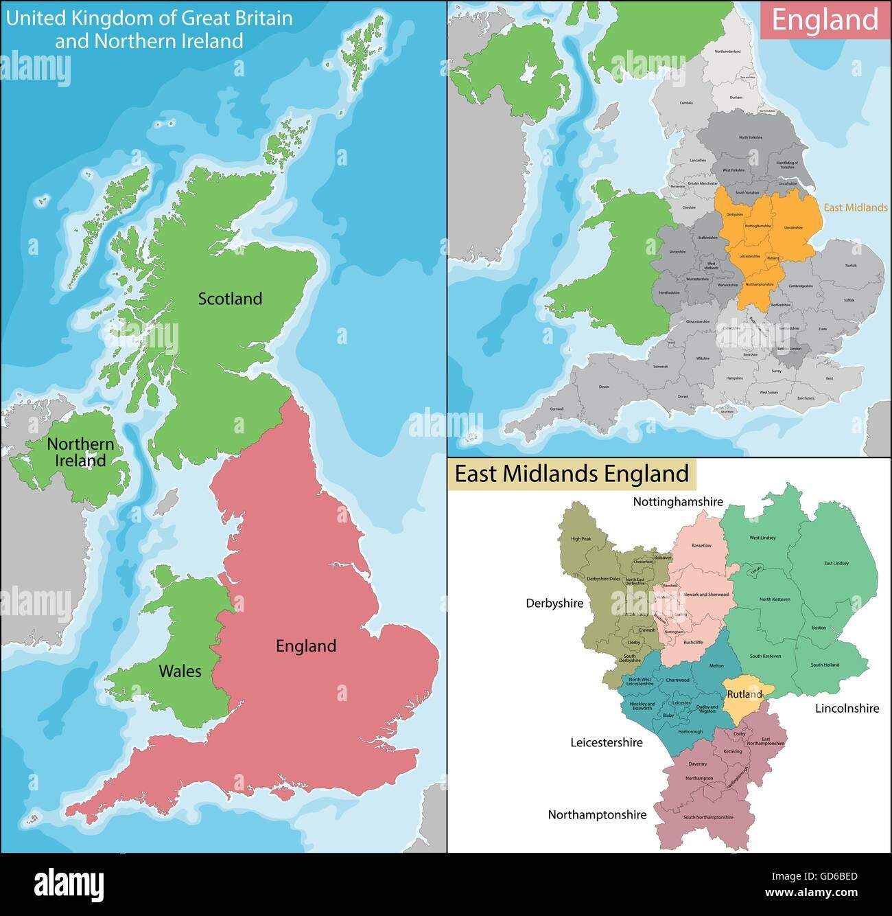 Map Of East Midlands England Stock Vector Art Illustration Vector