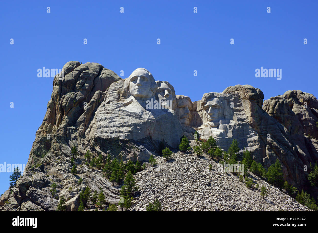 Mount Rushmore National Monument sculpt in the Black Hills of South Dakota Stock Photo