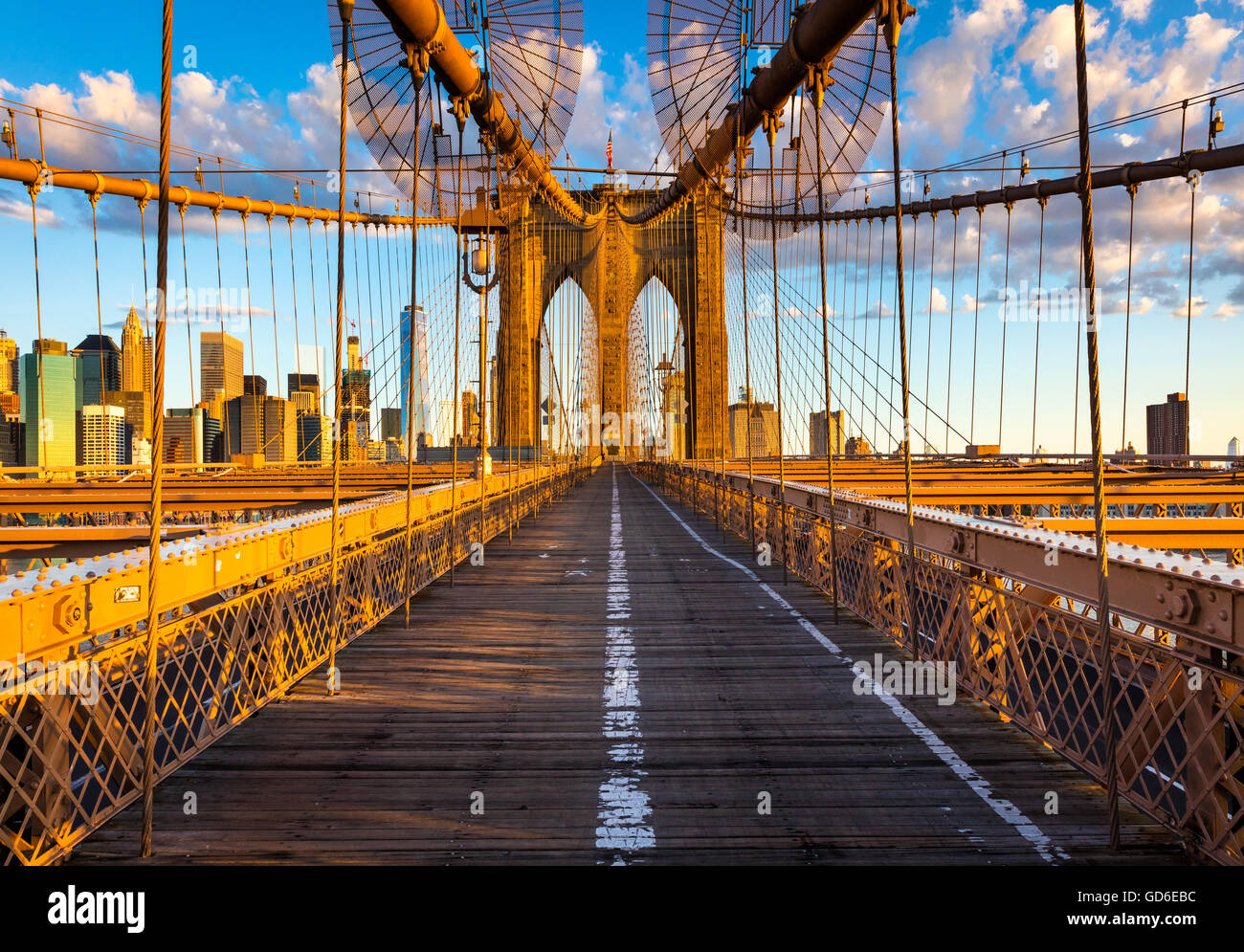 The Brooklyn Bridge in New York City is one of the oldest suspension bridges in the United States - Stock Image