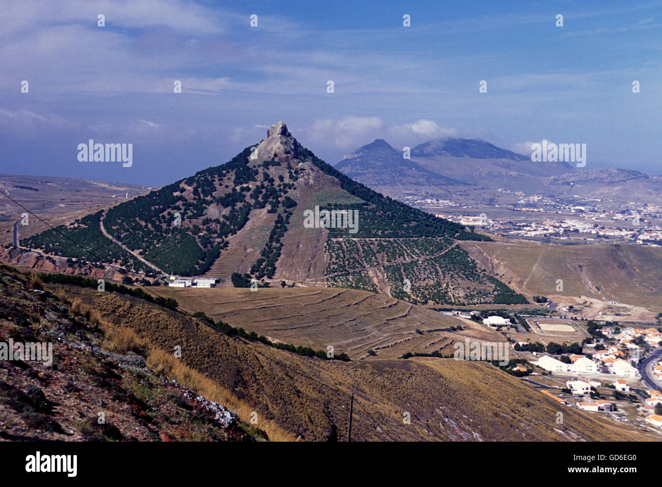 the landscape on the Island of Porto Santo ot the Madeira Islands in the Atlantic Ocean of Portugal. - Stock Image