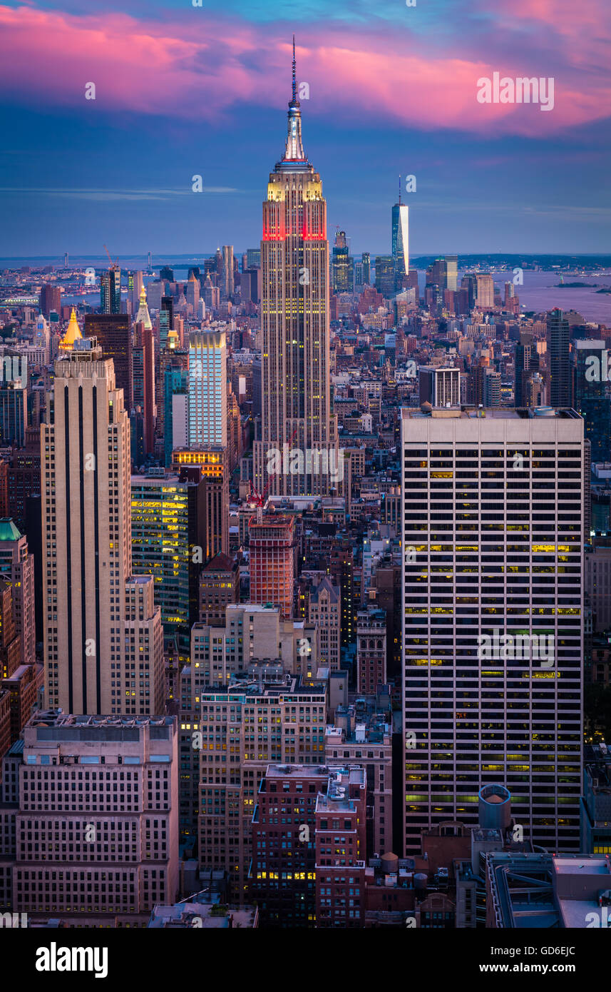 Manhattan at sunset from Rockefeller Center in New York City midtown - Stock Image