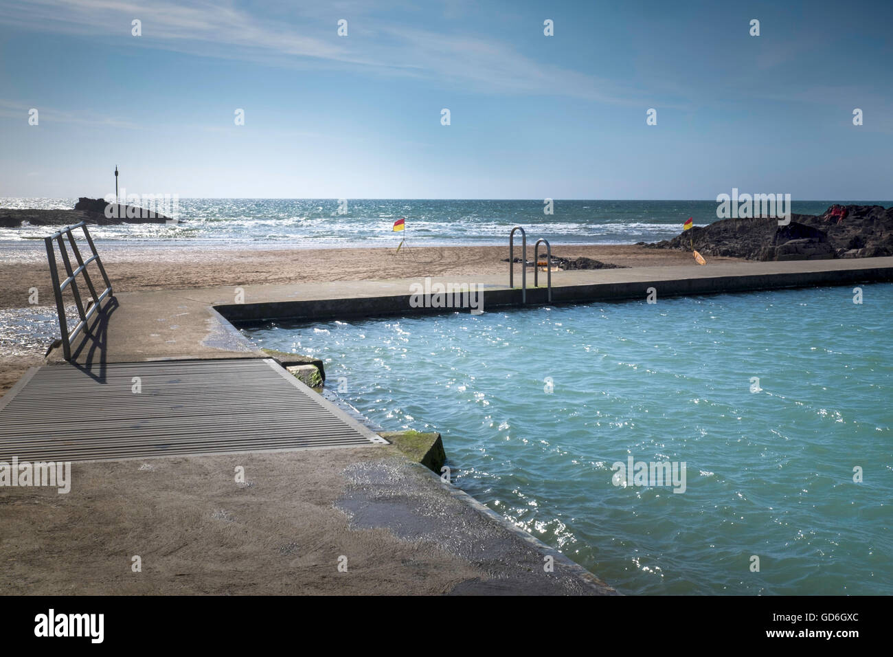 Bude Lido, a man-made tidal sea swimming pool on the beach ...