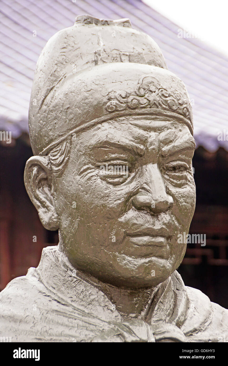 Statue of Admiral Zheng He at his gravesite at Niushou Mountain Cultural Park near Nanjing. - Stock Image