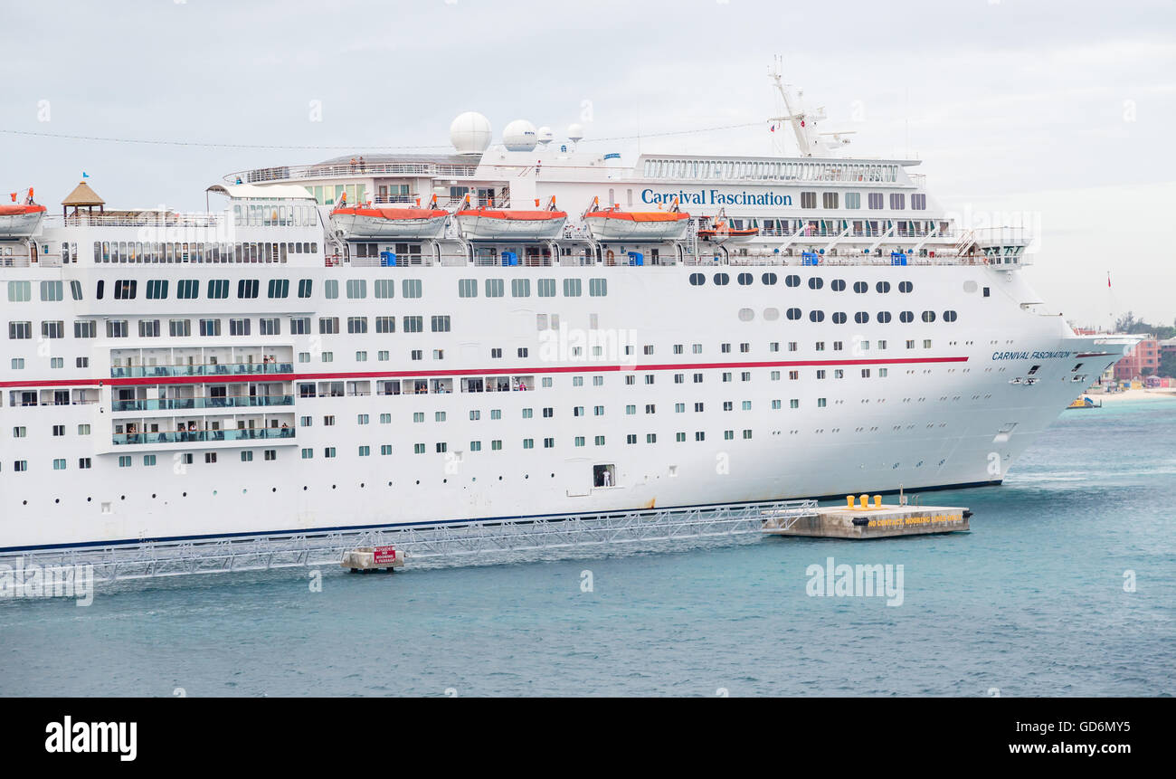 Carnival Fascination in Port in Fort Lauderdale - Stock Image