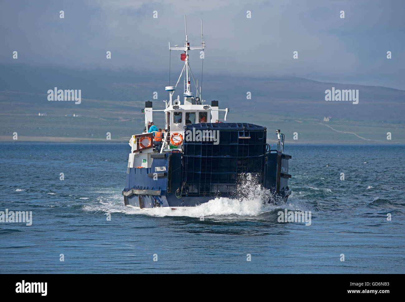 Rousay Ferry 'Eynhallow' sailing across from Brinain to Tingwall on the North shore of the Orkney Isles - Stock Image