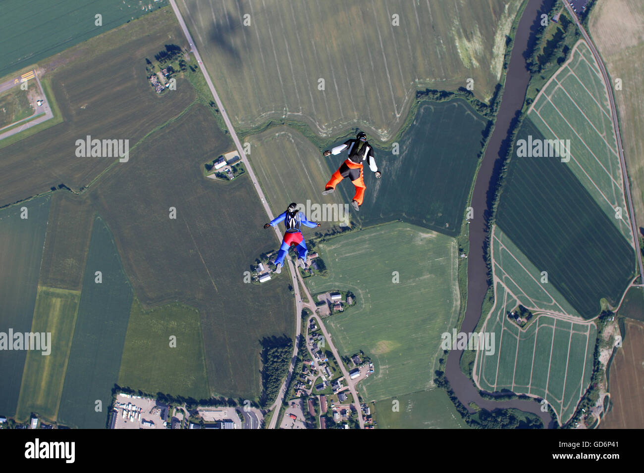 Funjump skydiving from 1200 ft over Norway - Stock Image