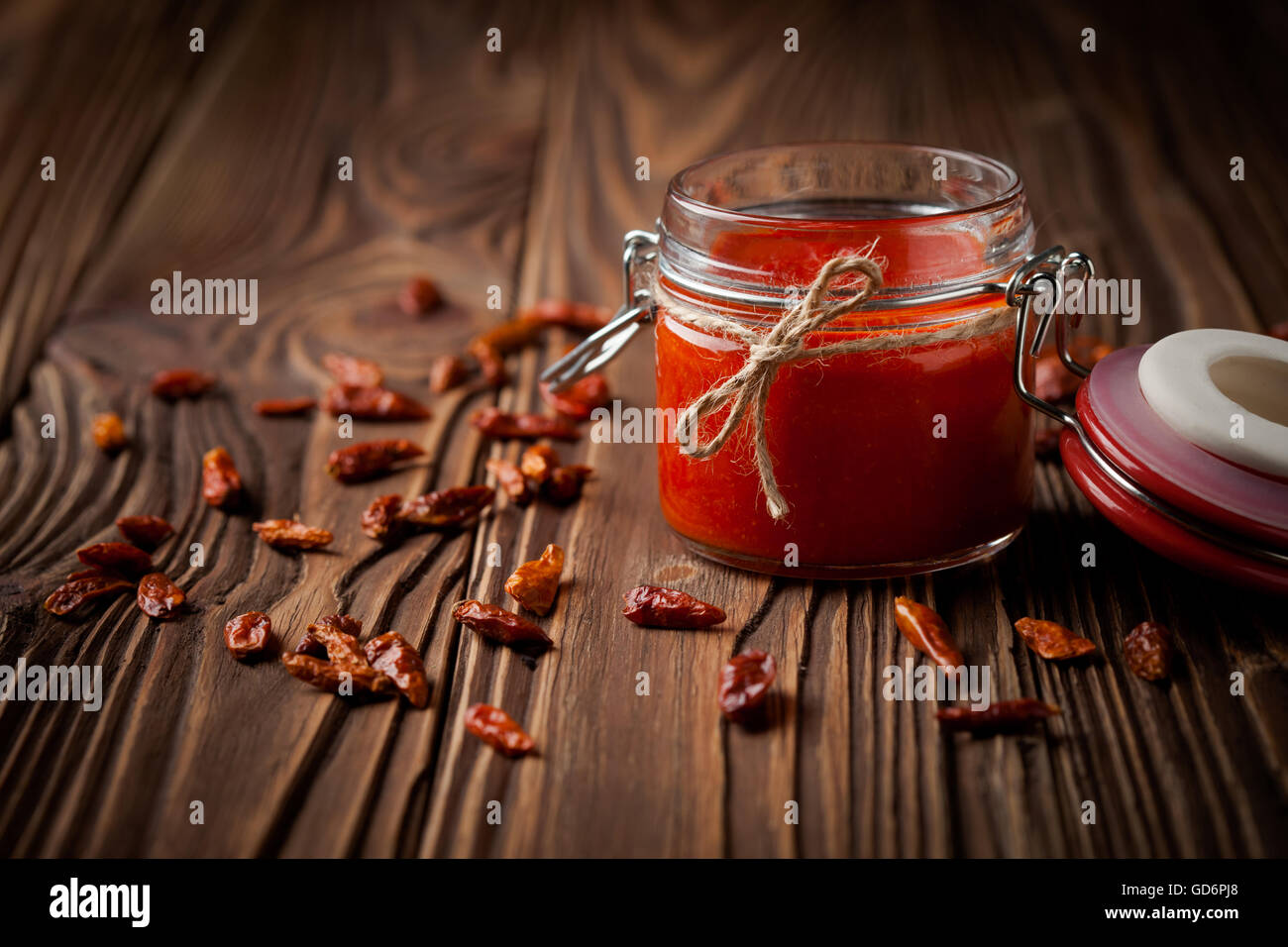 Natural diy chilli sauce sriracha - Stock Image