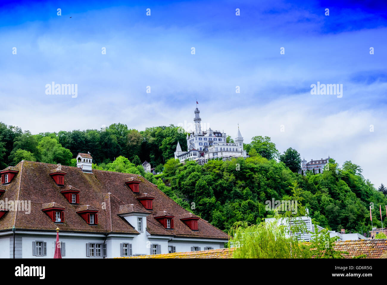 Hotel on hill in Lucerne, Switzerland - Stock Image