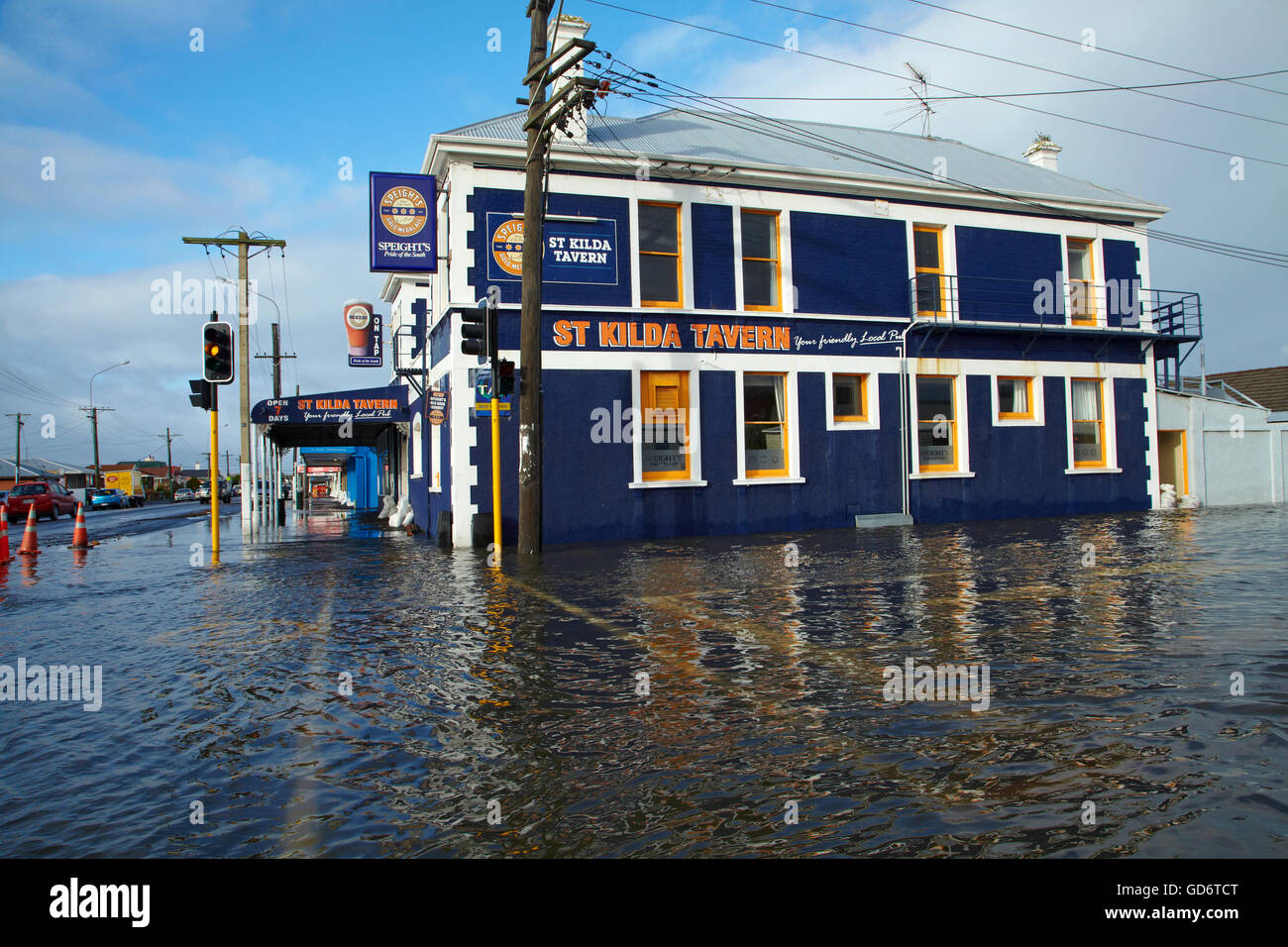 St Kilda Tavern during South Dunedin floods, Dunedin, South Island, New Zealand Stock Photo