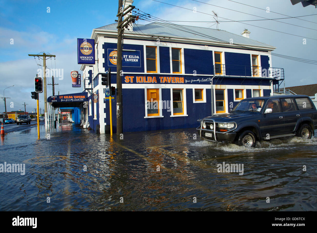 St Kilda Tavern during South Dunedin floods, Dunedin, South Island, New Zealand Stock Photo