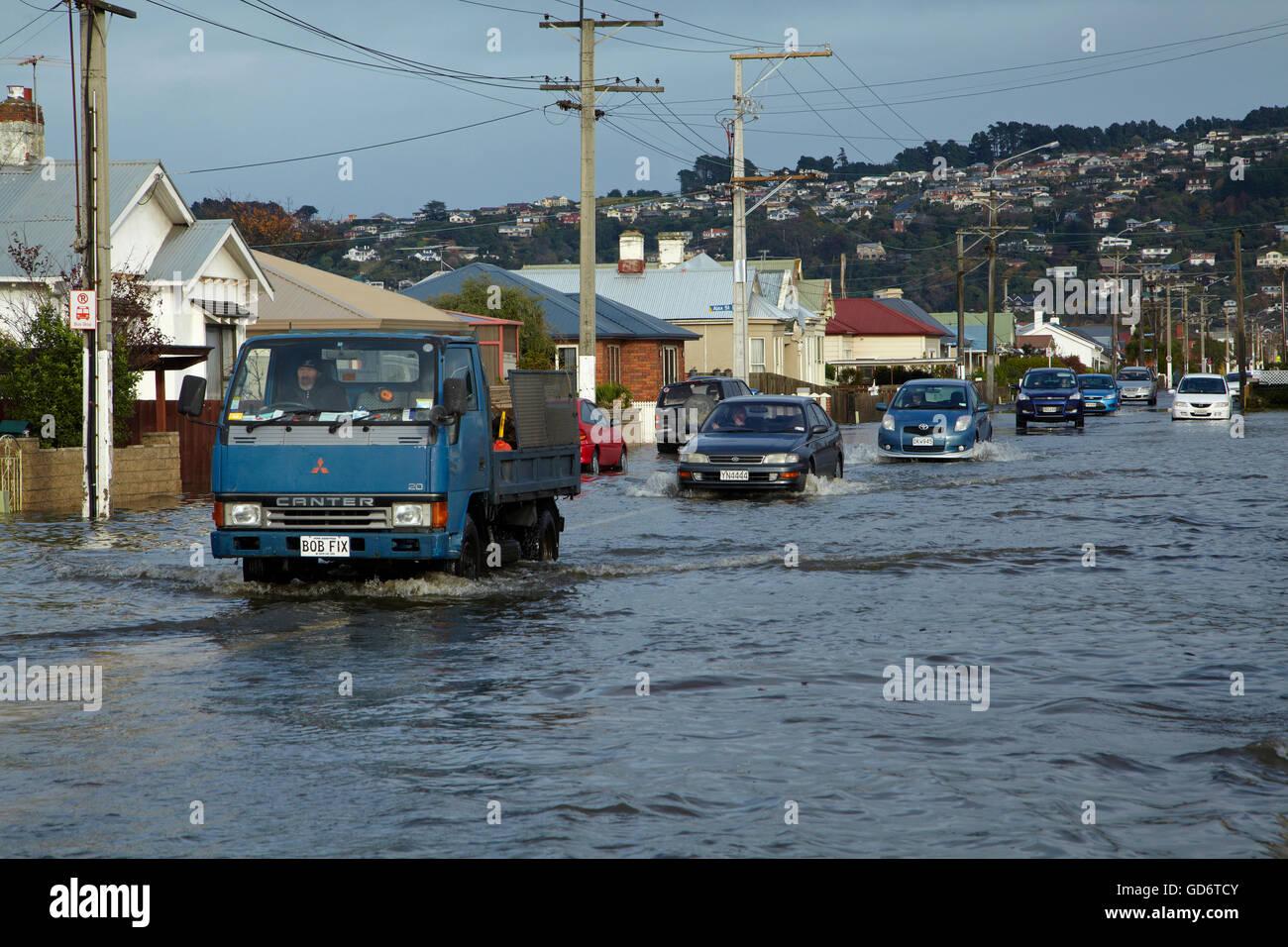 Traffic on flooded Bay View Road, South Dunedin floods, Dunedin, South Island, New Zealand Stock Photo