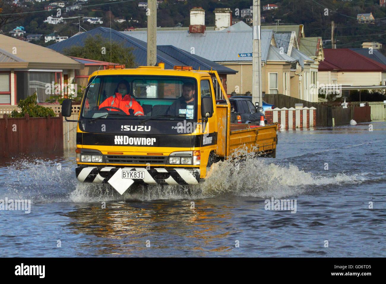 Truck on flooded Bay View Road, South Dunedin floods, Dunedin, South Island, New Zealand Stock Photo
