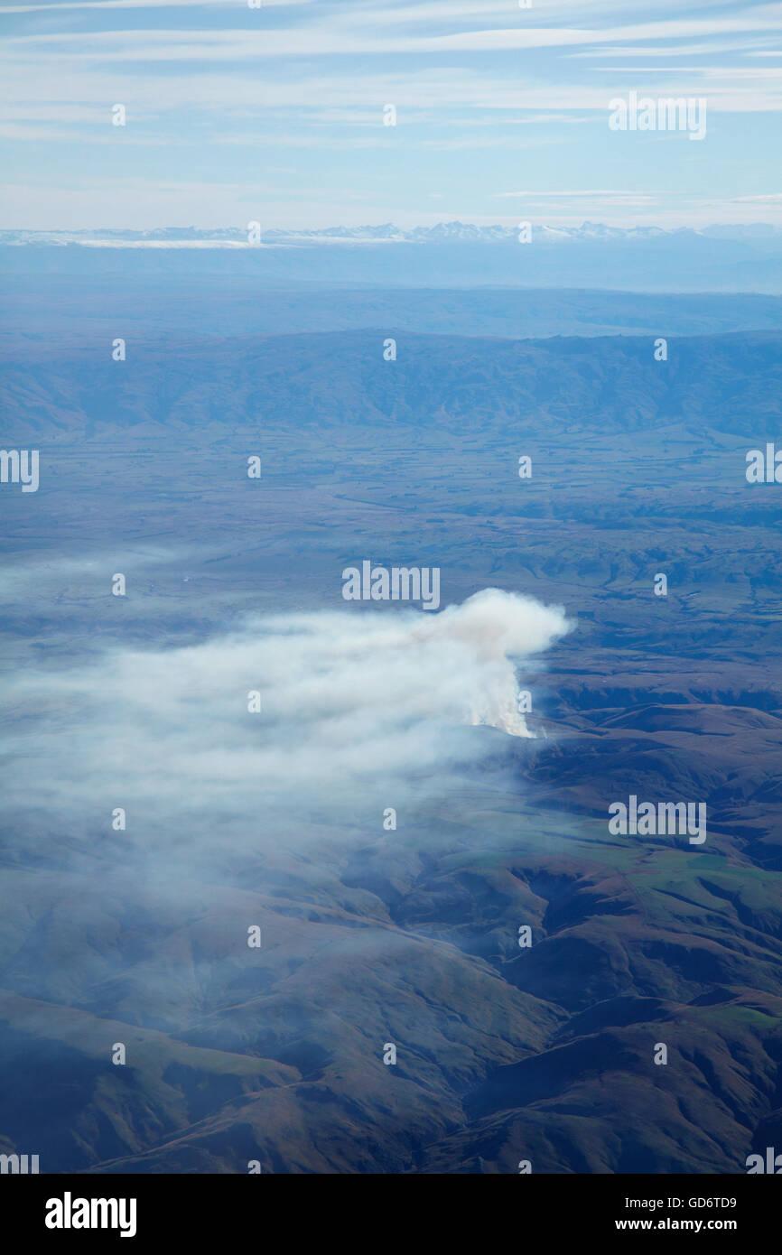 Burn-off near Nenthorn, near Dunedin, Otago, South Island, New Zealand - aerial - Stock Image