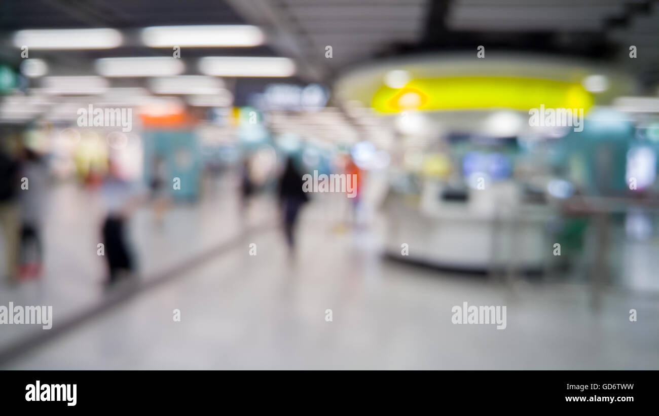 Blurred defocused abstract background of people in subway - Stock Image