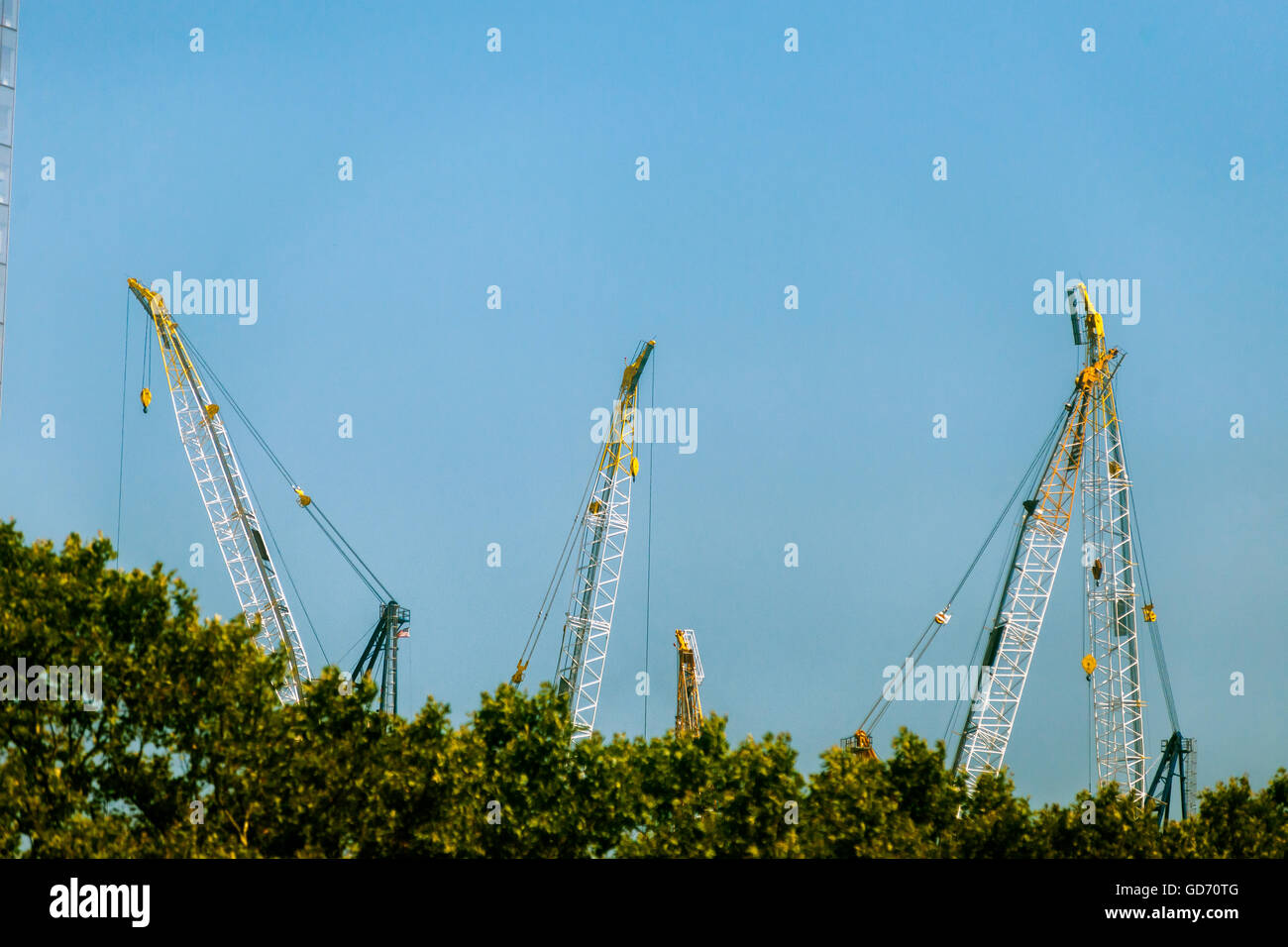 Cranes being used in the construction of the Hudson Yards project on the west side of New York on Fridya, July 8, - Stock Image
