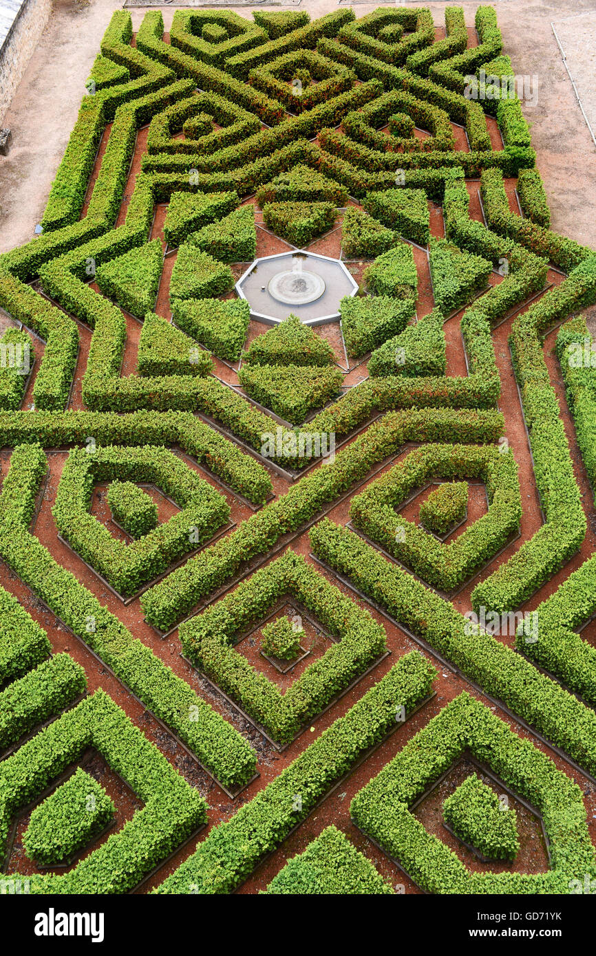 Alcazar formal knot garden Segovia Spain - Stock Image