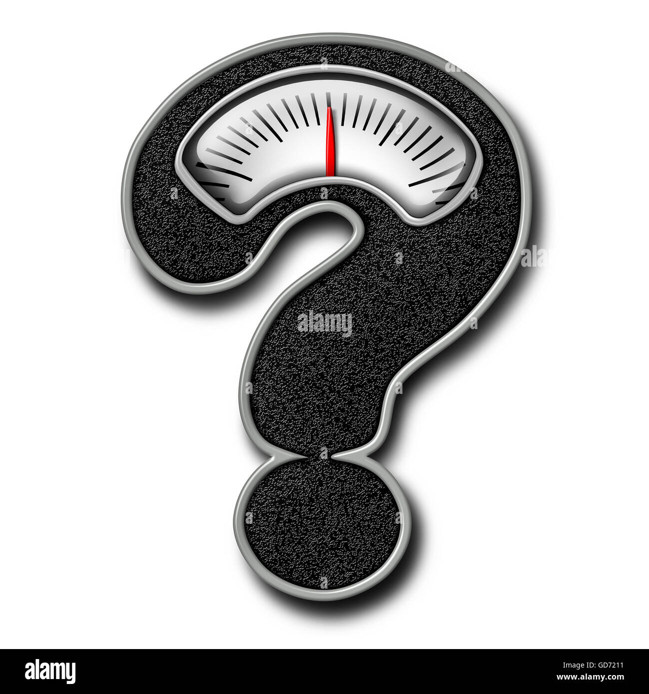 Dieting advice symbol as a bathroom weight scale shaped as a question mark representing diet confusion and healthy - Stock Image