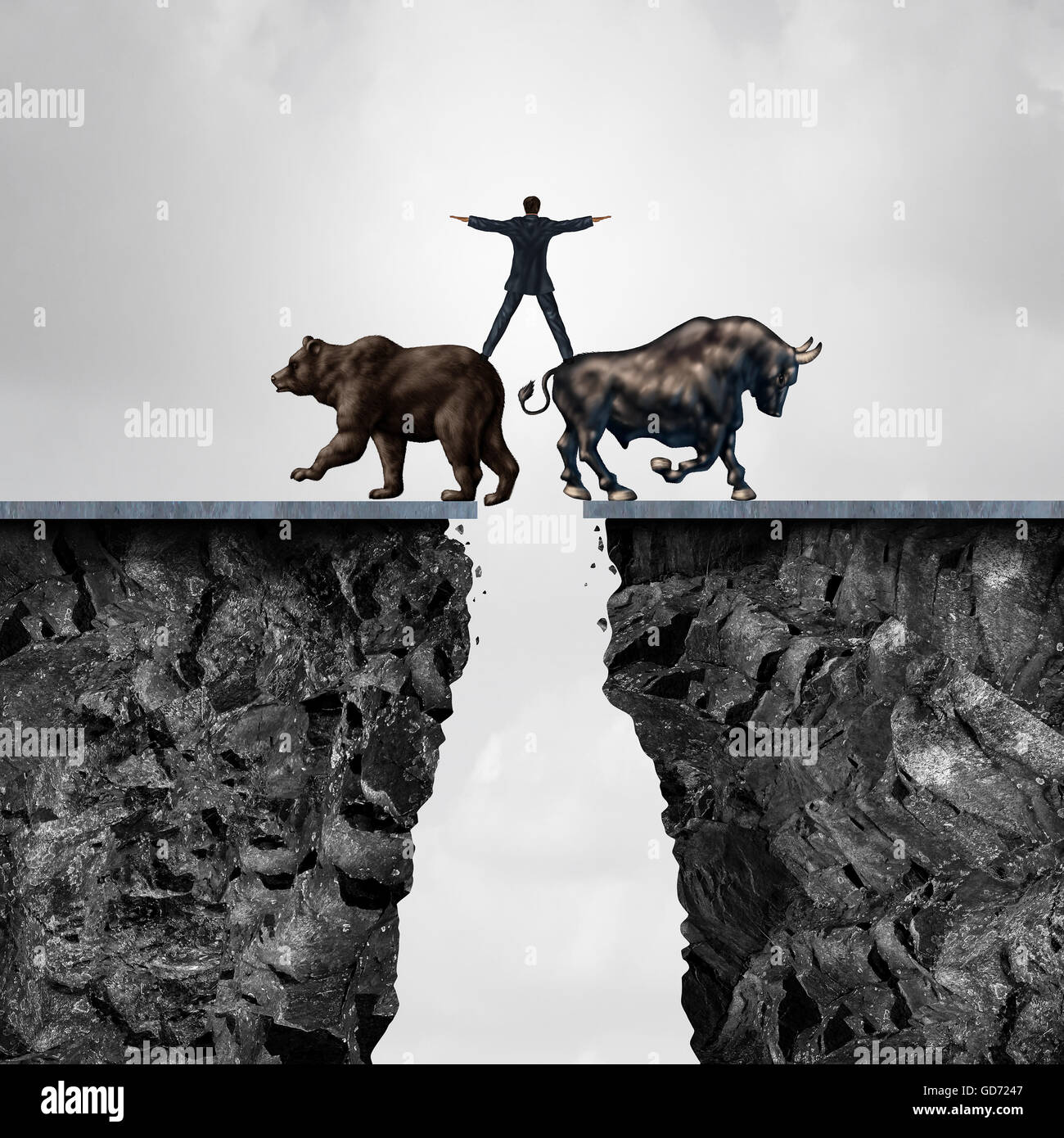 Concept of investment risk as a businessman balancing on top of a bear and bull as a financial metaphor for the Stock Photo