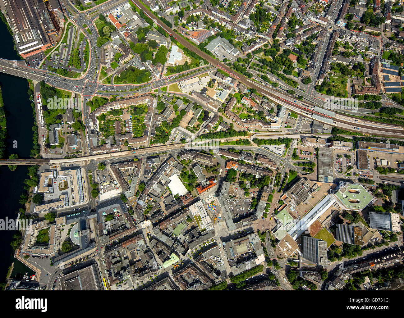 Aerial View Vertical Photographs Of Mulheim City Downtown With Ruhrbania An Der
