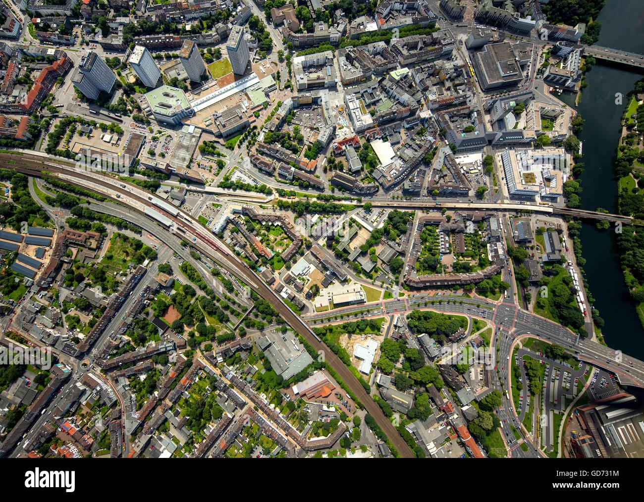 Aerial view, vertical photographs of Mülheim City, downtown with Ruhrbania, Mülheim an der Ruhr, Ruhr - Stock Image