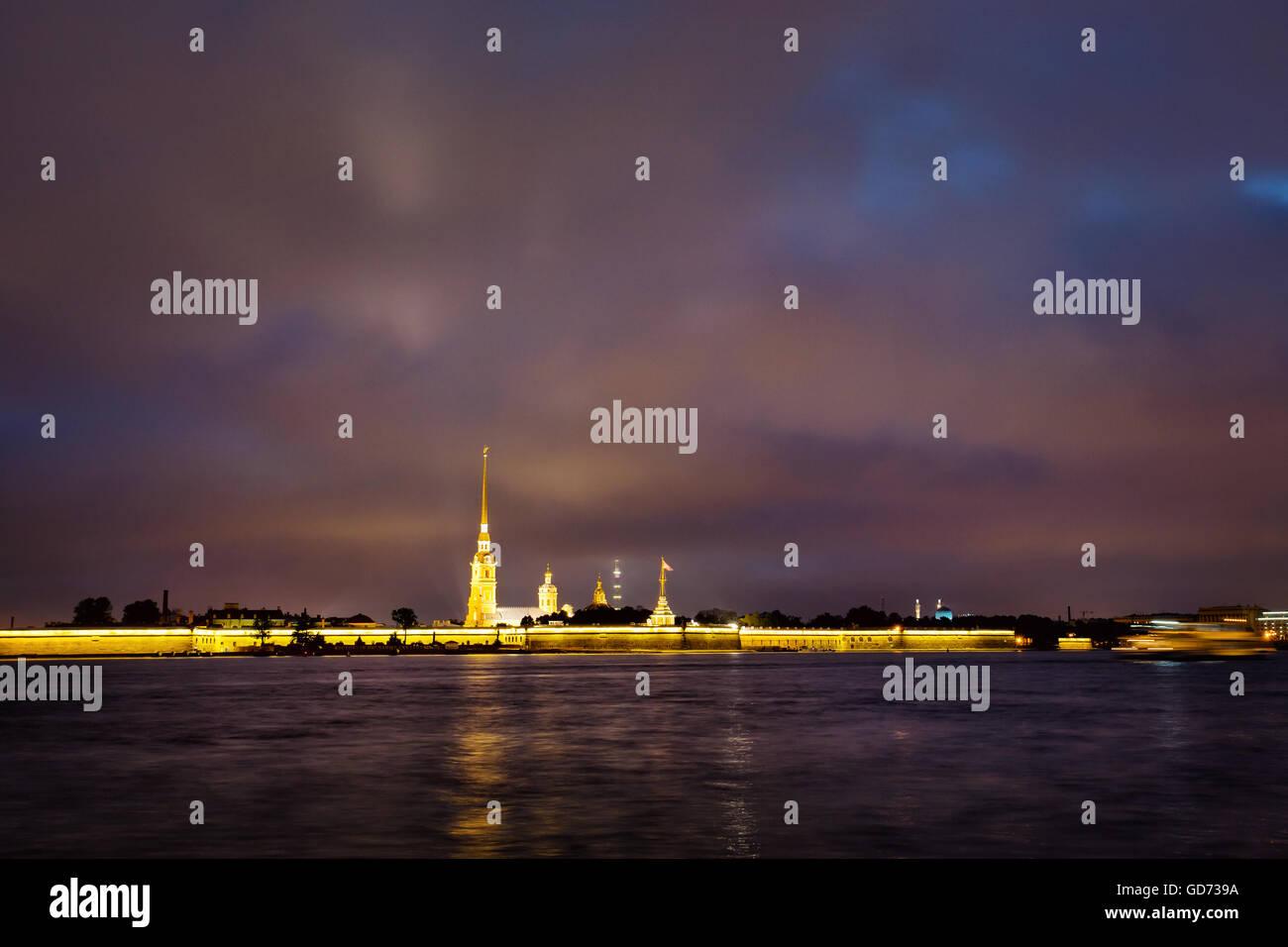Admiralty spire on the Neva River Stock Photo