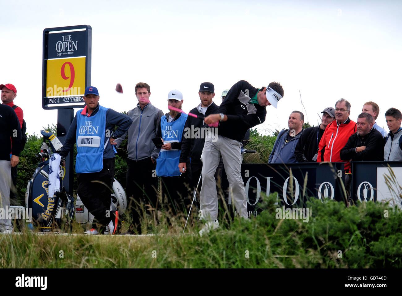 Bubba Watson hits his tee shot on the 9th hole at Royal Troon during practice for The 2016 Open Golf Championship. - Stock Image